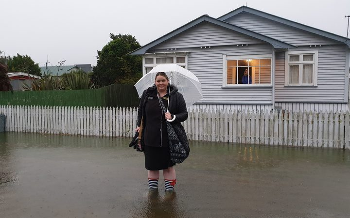In Hokitika, Livingstone Street resident Monique Daly has had water through garage where power tools and mattresses are stored.