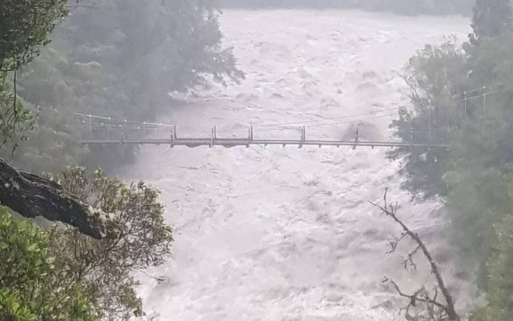 Hokitika Gorge in flood on Tuesday evening.