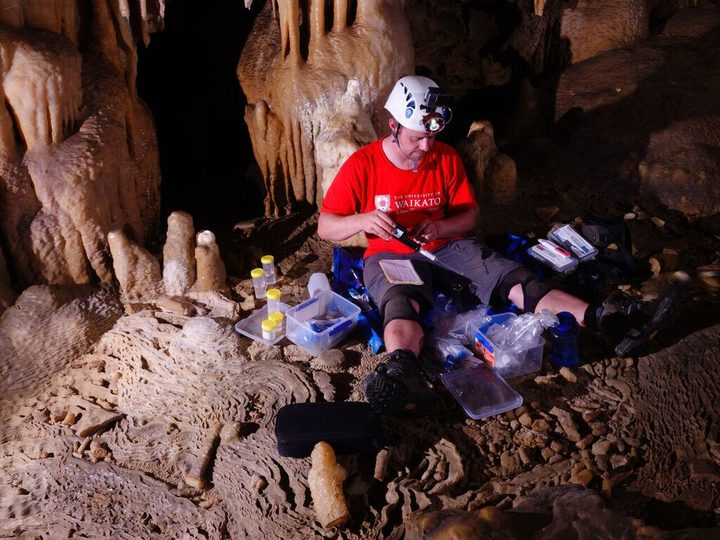 Adam Hartland working in Puatea Cave.