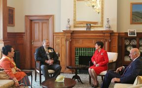 (L to R) Tonga's Queen Nanasipau'u and her husband King Tupou VI, NZ's Governor General Dame Patsy Reddy and her husband Sir David Gascoigne.