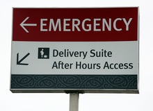 Wellington hospital Delivery Suite sign