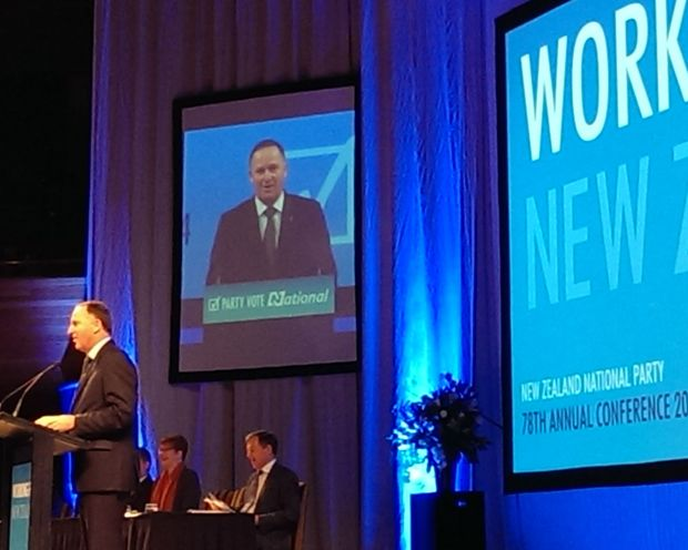 John Key giving his opening address to the conference.
