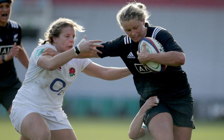 Black Ferns centre Chelsea Alley in game against England.