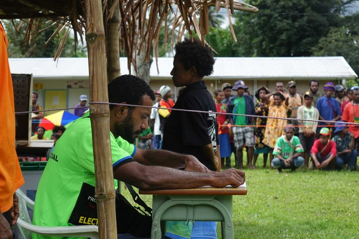 Waiting to vote in PNG's 2017 national election, Morobe province.