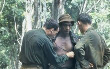 An Australian medical officer treating minor ailments of members of the New Zealand W Company during a resupply in the field during the Vietnam War.