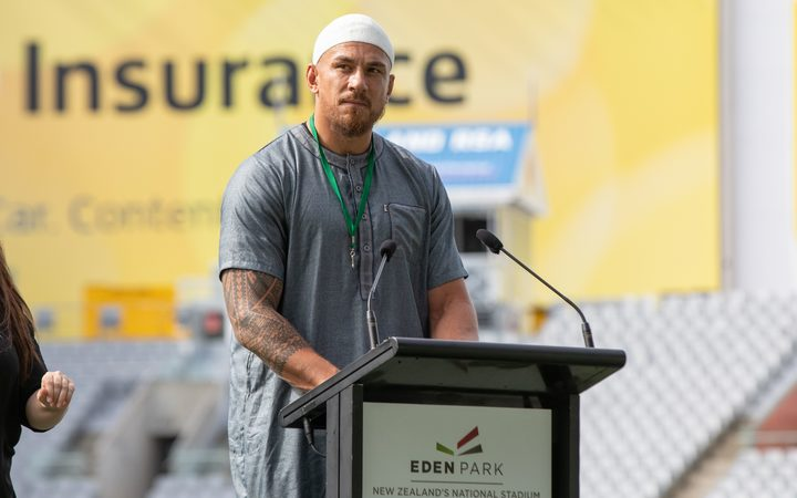 Sonny Bill Williams speaks at the Auckland service.