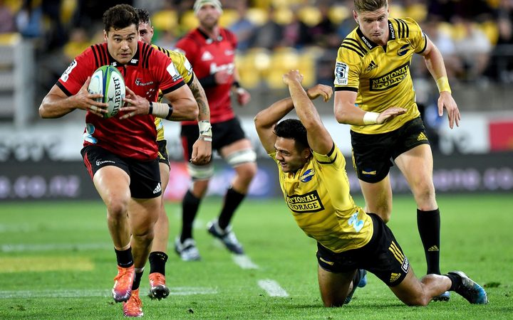 Crusaders outside back David Havili grabs a loose ball and runs away to score against the Hurricanes in Wellington.
