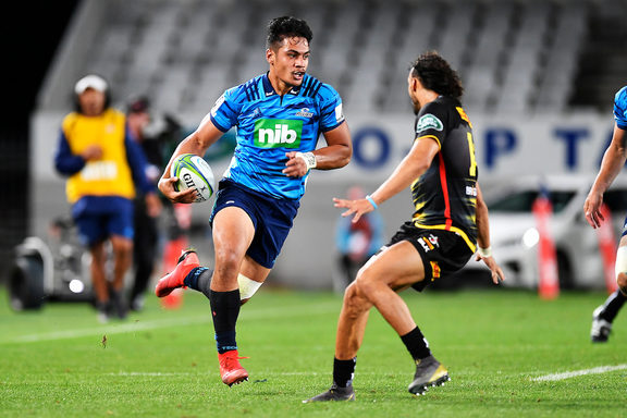 Blues Tanielu Tele'a。 Blues v Stormers,Super 15 Rugby,Eden Park,Auckland,New Zealand。 2019年3月30日。
