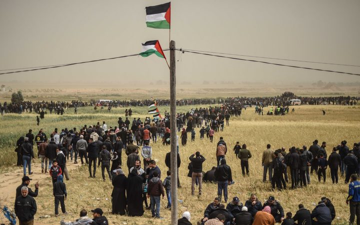 Tens of thousands protest along the Gaza fence