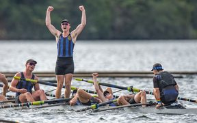 CBHS 8 - Scott Shackleton (stroke), Tom Fraser, Cameron Long, Ethan Alderlieste, Cameron Henderson, Angus Templeton, James Glover, Ben Brown + Timothy Heritage (cox) celebrate winning the final at the NZ Secondary Schools Rowing Championships