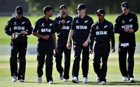 New Zealand team walk back after their victory over Kenya by 243 runs during the ICC U-19 Cricket World Cup 2018 game between New Zealand v Kenya, Hagley Oval, Christchurch, Wednesday 17th Janurary 2018. Copyright Photo: Raghavan Venugopal / © www.Photosport.nz 2018