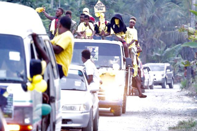 Vehicles of all descriptions joined campaign float parades across the capital Honiara