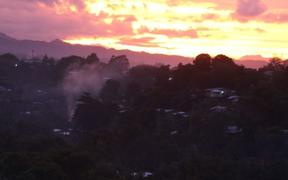 The sun sets over Honiara on the eve of the Solomon Islands election, on a night widely known as 'Devil's Night.'