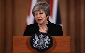 UK Prime Minister Theresa May makes a statement inside 10 Downing Street on April 2, 2019, on her intention to seek a further delay to Brexit.