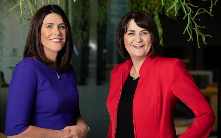 Spark chair Justine Smythe (left) with new chief executive Jolie Hodson.