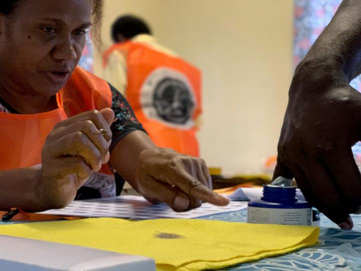 A voting station in the Solomon Islands