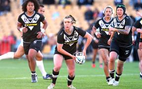 Kiwi Ferns playing in international test against Australia in 2018 - Georgia Hale pictured
