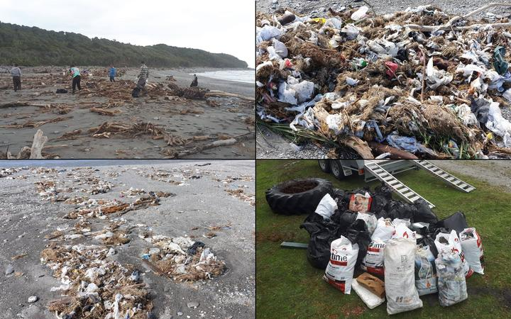 Locals have started the long task of cleaning up the beach after it was covered in trash from a washed-out landfill.