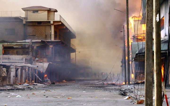 In the Tongan capital Nuku'Alofa, 16 November 2006, in riots that killed eight people and saw 80 percent of the central business district destroyed.