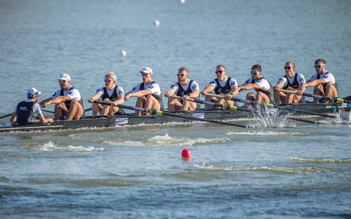 Stephen Jones(s),James Lassche,Isaac Grainger,Shaun Kirkham,Cameron Webster,Martyn O Leary,Brook Robertson,Phillip Wilson(b)和Caleb Shepherd(c)新西兰男子八项2018年世界赛艇锦标赛。