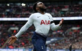 10th February 2019, Wembley Stadium, London England; EPL Premier League football, Tottenham Hotspur versus Leicester City; Danny Rose of Tottenham Hotspur reacts as he mistimes his challenge and the ball goes out of play