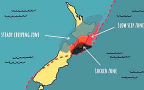 The areas around the slow slip zone include much of the North Island.
