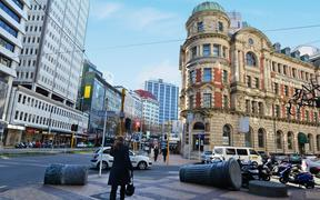 WELLINGTON - AUG 22 2014:Traffic on Lambton Quay.It is the heart of the central business district of Wellington, the capital city of New Zealand.