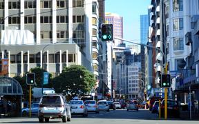 WELLINGTON - AUG 22 2014:Traffic on Featherston Street, in the  central business district of Wellington, the capital city of New Zealand.