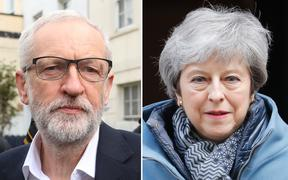Britain's Prime Minister Theresa May and Labour Party leader Jeremy Corbyn