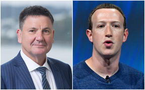 Privacy Commissioner John Edwards and Facebook chief executive Mark Zuckerberg.