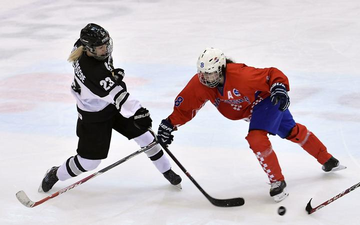 Ice Ferns' Jasmine Horner Pascoe in action against Croatia at the International Ice Hockey Federation Tournament in Romania