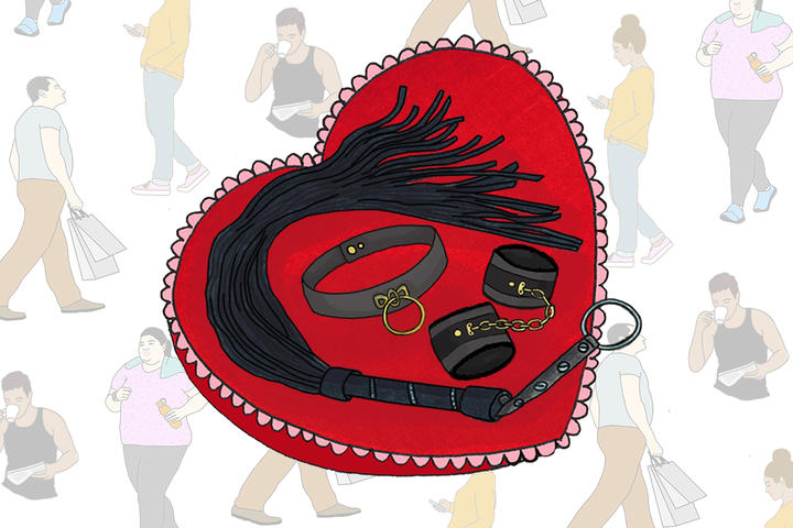 A whip, handcuffs and choker sit on a heart-shaped pillow. In the background, people go about their everyday lives - representing how you can't tell what someone's into just by looking at them.