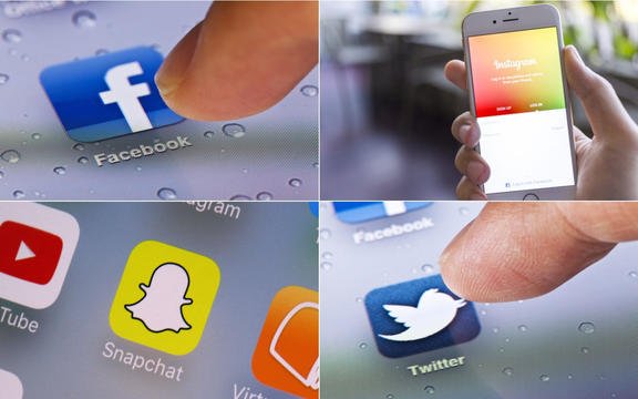 Logos of social media sites Facebook, Instagram,Snapchat and Twitter.