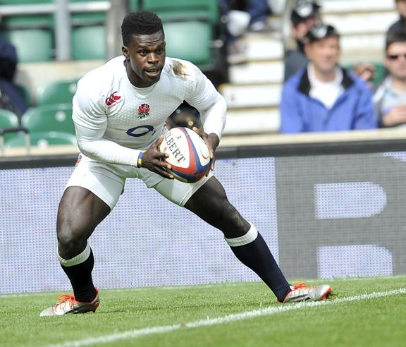 Christian Wade scores a try during England and Barbarians match at Twickenham.