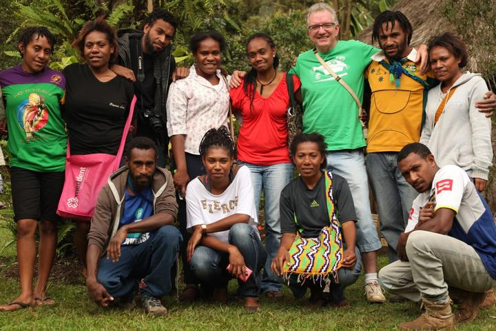 The crew of 'Aliko & Ambai', including co-directors Diane Anton (centre, red tee-shirt) and Mark Eby (next to Diane, with green tee-shirt)