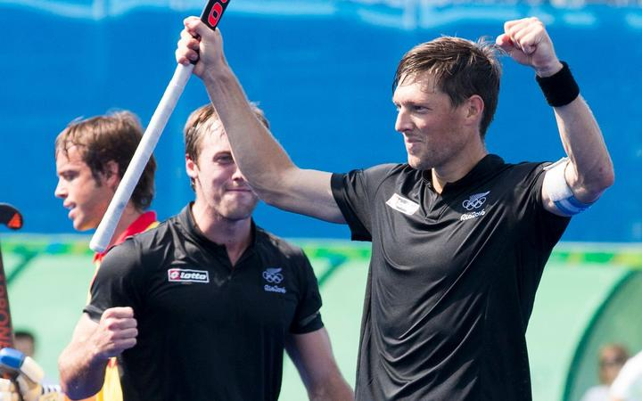 Simon Child celebrates yet another goal for the Black Sticks.