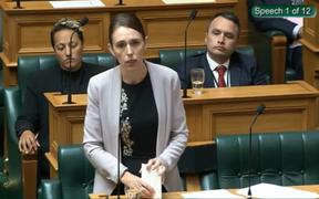 Jacinda Ardern makes her speech at the final reading of the Firearms Amendment Bill.