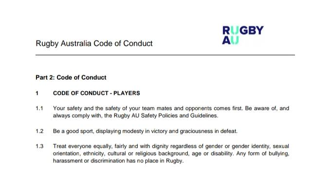 Rugby Australia code of conduct