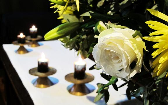 Flowers and candles on the altar at St Luke's Church, Remuera, Auckland.