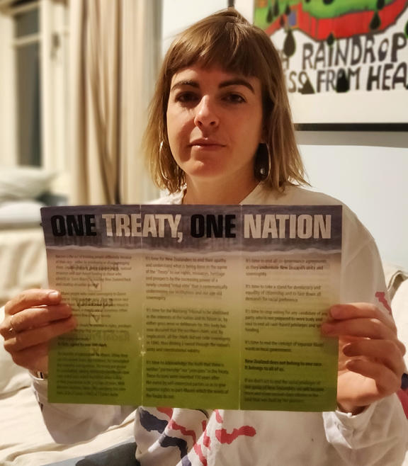 Sophie Barclay with the pamphlet.