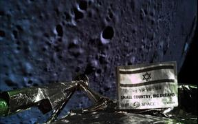 A picture taken by the camera of the Israel Beresheet spacecraft, of the moons surface as the craft approaches.