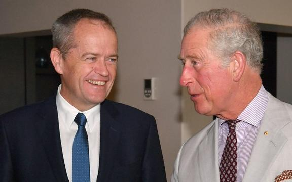 Britain's Prince Charles (R) is seen talking to the Australian Leader of the Opposition, Bill Shorten (L) on the Gold Coast on April 5, 2018.