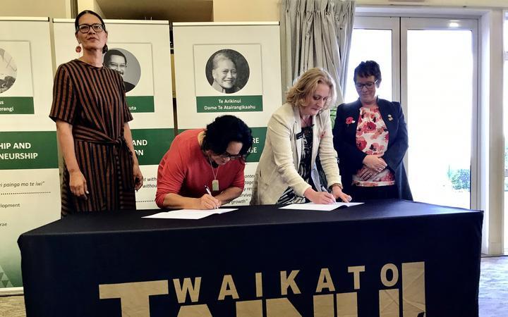 Rukumoana Schaafhause and Marae Tukere from Waikato-Tainui, with Oranga Tamariki chief executive Grainne Moss and Minister for Children Tracey Martin.