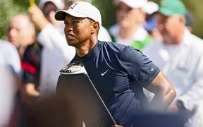 Tiger WOODS (USA)  tee shot at 18th par 4 during first round US Masters 2019,Augusta National Golf Club, Augusta, Georgia,USA.