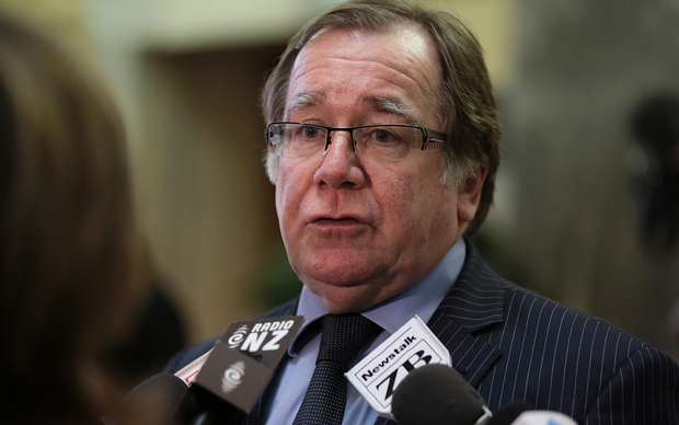 Murray McCully speaking to reporters on Wednesday,