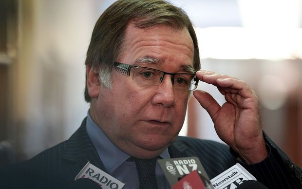 Murray McCully talking to reporters on Wednesday.