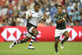 Fiji's Aminiasi Tuimaba scored a try and received a yellow card during the Singapore final.