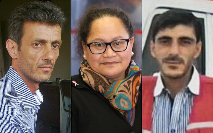 New Zealand nurse Louisa Akavi, centre, with Syrian drivers Alaa Rajab, left, and Nabil Bakdoune were kidnapped in Syria in 2013.