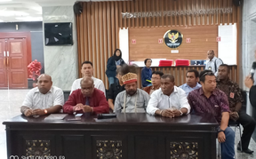 Coalition of Lawyers for Truth and Justice of West Papuan People hold a press conference in Jakarta, Indonesia.