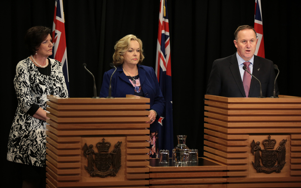 Anne Tolley, left, Judith Collins, and Prime Minister John Key.